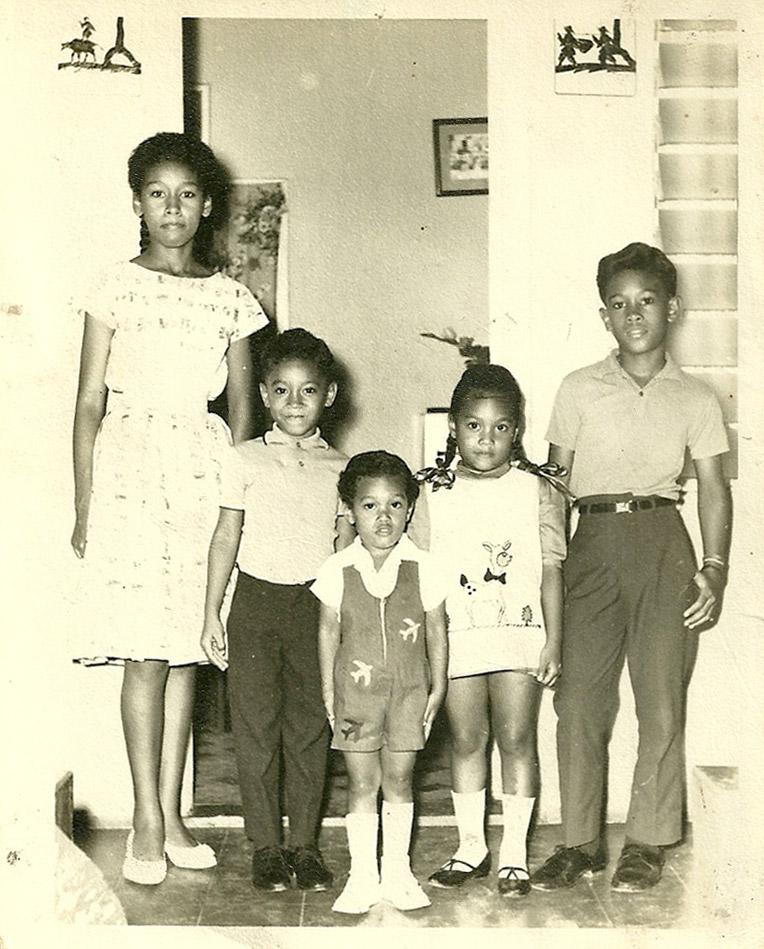 Anthony (far right) with his cousins (left to right) Joan, Michael, Roger and Georgia Moo-Young. Circa 1966, Port Antonio, Jamaica
